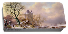 Winter Landscape With Castle Portable Battery Charger