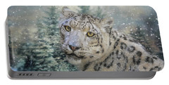 Winter Leopard Portable Battery Charger by Jai Johnson