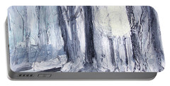 Portable Battery Charger featuring the painting Winter Light by Robin Maria Pedrero