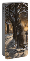 Portable Battery Charger featuring the painting Winter Magic by Veronica Minozzi