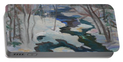Portable Battery Charger featuring the painting Winter Mill Stream  by Francine Frank
