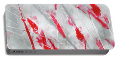 Winter Moods 1 - Cardinal Red And Icy Gray Nature Abstract Portable Battery Charger