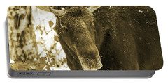 Winter Moose - Sepia Portable Battery Charger