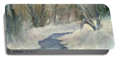 Portable Battery Charger featuring the painting Winter On Stormcreek by Gail Kirtz
