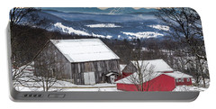Winter On The Farm On The Hill Portable Battery Charger