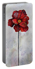 Portable Battery Charger featuring the painting Winter Poppy II by Shadia Derbyshire