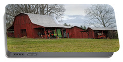 Winter Red Barn Portable Battery Charger