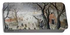 Winter Scene Portable Battery Charger by Hendrik Avercamp
