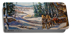 Winter Scene Loggers Horses By Prankearts Portable Battery Charger