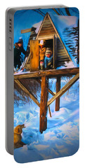 Winter Scene Three Kids And Dog Playing In A Treehouse Portable Battery Charger