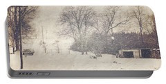 Winter Snow Storm At The Farm Portable Battery Charger