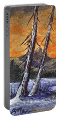 Portable Battery Charger featuring the painting Winter Solitude #1 by Anastasiya Malakhova