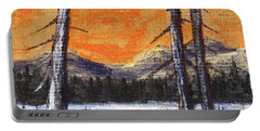 Portable Battery Charger featuring the painting Winter Solitude #2 by Anastasiya Malakhova
