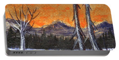 Portable Battery Charger featuring the painting Winter Solitude #3 by Anastasiya Malakhova