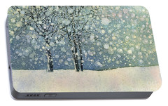 Portable Battery Charger featuring the painting Winter Sonnet by Hailey E Herrera