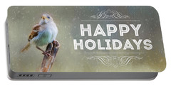 Winter Sparrow Holiday Card Portable Battery Charger