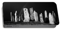 Winter Storm Sky Over Callanish. Outer Hebrides, Scotland.    Black And White Portable Battery Charger
