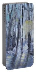 Portable Battery Charger featuring the painting Winter Sun by Robin Maria Pedrero