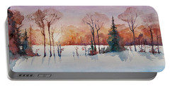 Portable Battery Charger featuring the painting Winter Sunrise by Geni Gorani