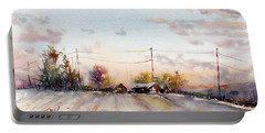 Winter Sunrise On The Lane Portable Battery Charger by Judith Levins