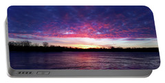 Winter Sunrise On The Wisconsin River Portable Battery Charger by Brook Burling
