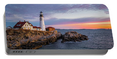 Winter Sunrise Over Portland Head Light Portable Battery Charger