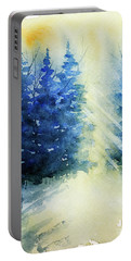 Winter Sunrise Portable Battery Charger by Rebecca Davis