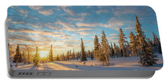 Winter Sunset Portable Battery Charger by Delphimages Photo Creations