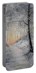 Portable Battery Charger featuring the painting Winter Sunset by Judy Kirouac
