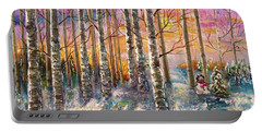 Dylan's Snowman - Winter Sunset Landscape Impressionistic Painting With Palette Knife Portable Battery Charger