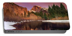 Portable Battery Charger featuring the photograph Winter Sunset Lights Up Half Dome Yosemite National Park by Dave Welling