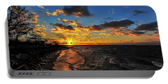 Winter Sunset On A Chesapeake Bay Beach Portable Battery Charger