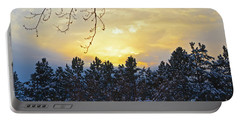 Winter Sunset On The Tree Farm #1 Portable Battery Charger