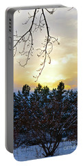 Winter Sunset On The Tree Farm #2 Portable Battery Charger