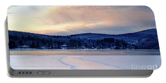 Winter Sunset On Wilson Lake In Wilton Me  -78091-78092 Portable Battery Charger