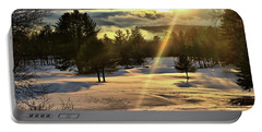 Winter Sunset Rays  Portable Battery Charger by Betty Pauwels