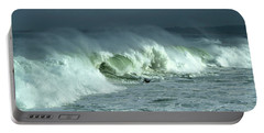 Winter Surf On Monterey Bay Portable Battery Charger