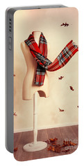 Winter Tartan Scarf With Fall Leaves Portable Battery Charger