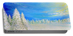 Portable Battery Charger featuring the painting Winter by Teresa Wegrzyn