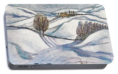 Portable Battery Charger featuring the painting Winter Tranquility by Rae Chichilnitsky