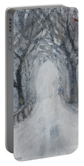 Portable Battery Charger featuring the painting Winter Tree Tunnel by Robin Maria Pedrero