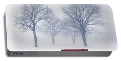 Winter Trees And Bench In Fog Portable Battery Charger