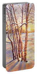 Portable Battery Charger featuring the painting Winter Trees Sunrise by Lou Ann Bagnall