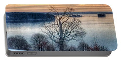 Winter Twilight At Fort Allen Park Portable Battery Charger