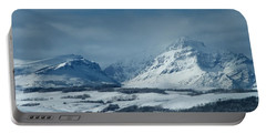 Winter View Of Rising Wolf Mountain Portable Battery Charger