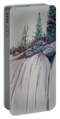 Portable Battery Charger featuring the painting Winter Waterfall by Marilyn  McNish