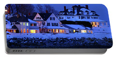 Winter Waterfront Portable Battery Charger by James Kirkikis