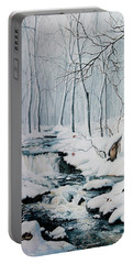 Portable Battery Charger featuring the painting Winter Whispers by Hanne Lore Koehler