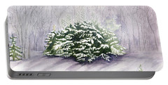 Portable Battery Charger featuring the painting Winter Wind by Melly Terpening