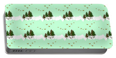 Portable Battery Charger featuring the mixed media Winter Woodlands Bird Pattern by Christina Rollo